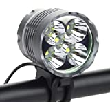 6000 Lumen Bike Light, Rechargeable Bicycle Lights Set Waterproof T6 Cree 5 LED Headlamps, 3 Modes of Cycling Light with Rechargeable Batteries