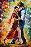 100% Hand Painted Oil Paintings Decor Abstract Modern Painting Pas De Deux Home Wall Decoration (24X36 Inch, Home Decor 1)