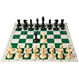 Quadruple Weight Tournament Chess Game Set - Chess Board Game with Natural Chess Pieces, Green Vinyl Board and Chess Strategy Guide