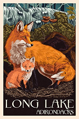 The Adirondacks - Long Lake, New York - Fox and Kit - Letterpress (12x18 Art Print, Wall Decor Travel (Adirondack Cabin Kit)