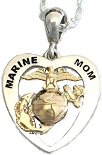 product image for Two Tone Continuum Sterling Silver and 14KY Eagle Globe and Anchor Marine Mom Heart Pendant