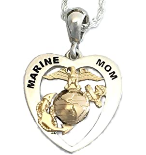 Amazon 14k yellow gold marine mom eagle globe and anchor heart two tone continuum sterling silver and 14ky eagle globe and anchor marine mom heart pendant aloadofball Choice Image