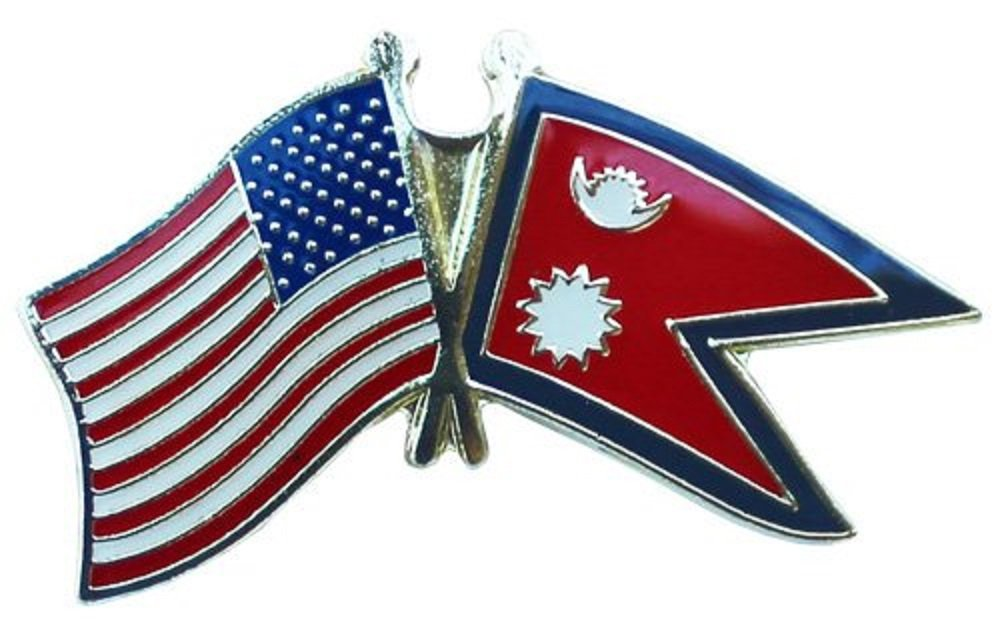 AES USA American & Nepal Country Flag Bike Hat Cap lapel Pin