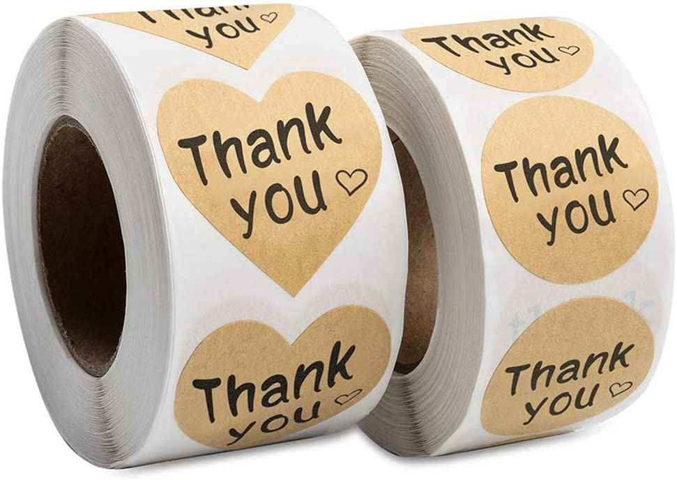 Kraft Stickers Thank You Labels 1 Inch Self-Adhesive 1 Roll 500pcs DIY Stickers