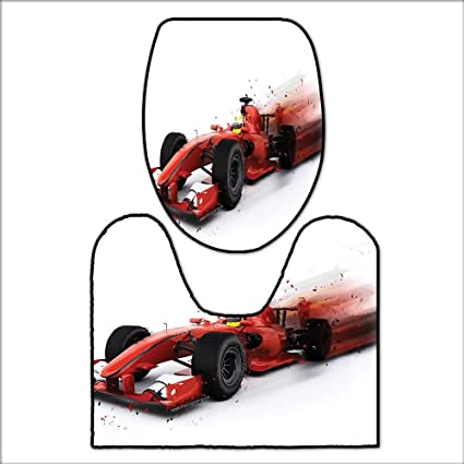 qianhehome Printed Bath Rug Set Generic Formula 1 Racing Car Illustration with Special Pace Effect Turbo