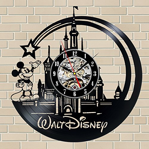 Disney Mickey Mouse Gift Vinyl Record Wall Clock Fan Black Room Idea … (Disney Clocks Wall)