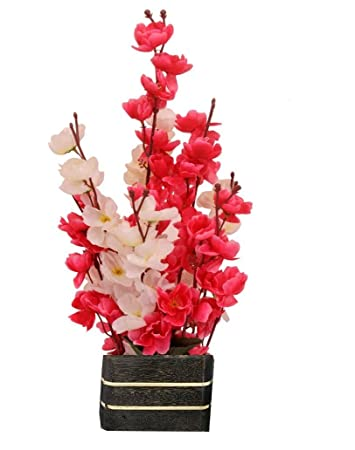 253 & Sofix Beautiful Artificial Orchid Flowers with Pot for Home Decor  17-inch/42 cm (White and Red)