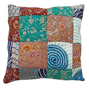 """Silk Blend Sofa Cushion Case Decorative Vintage Style Patchwork Pillow Cover Home Décor Gift 17"""" Inches"""