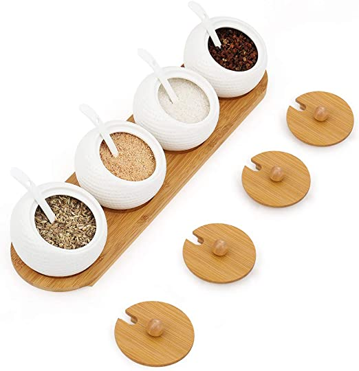 Lid Spoon Wood Spice Box Salt Containers Family for Spice Sugar Salt Storage Convenient Household Supplies Kitchen Wooden Seasoning Can Sugar Bowl