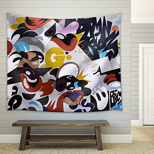 Abstract Graffiti Art Fabric Wall