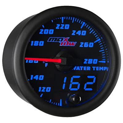 "MaxTow Double Vision 280 F Water Coolant Temperature Gauge Kit - Includes Electronic Sensor - Black Gauge Face - Blue LED Illuminated Dial - Analog & Digital Readouts - for Trucks - 2-1/16"" 52mm: Automotive"