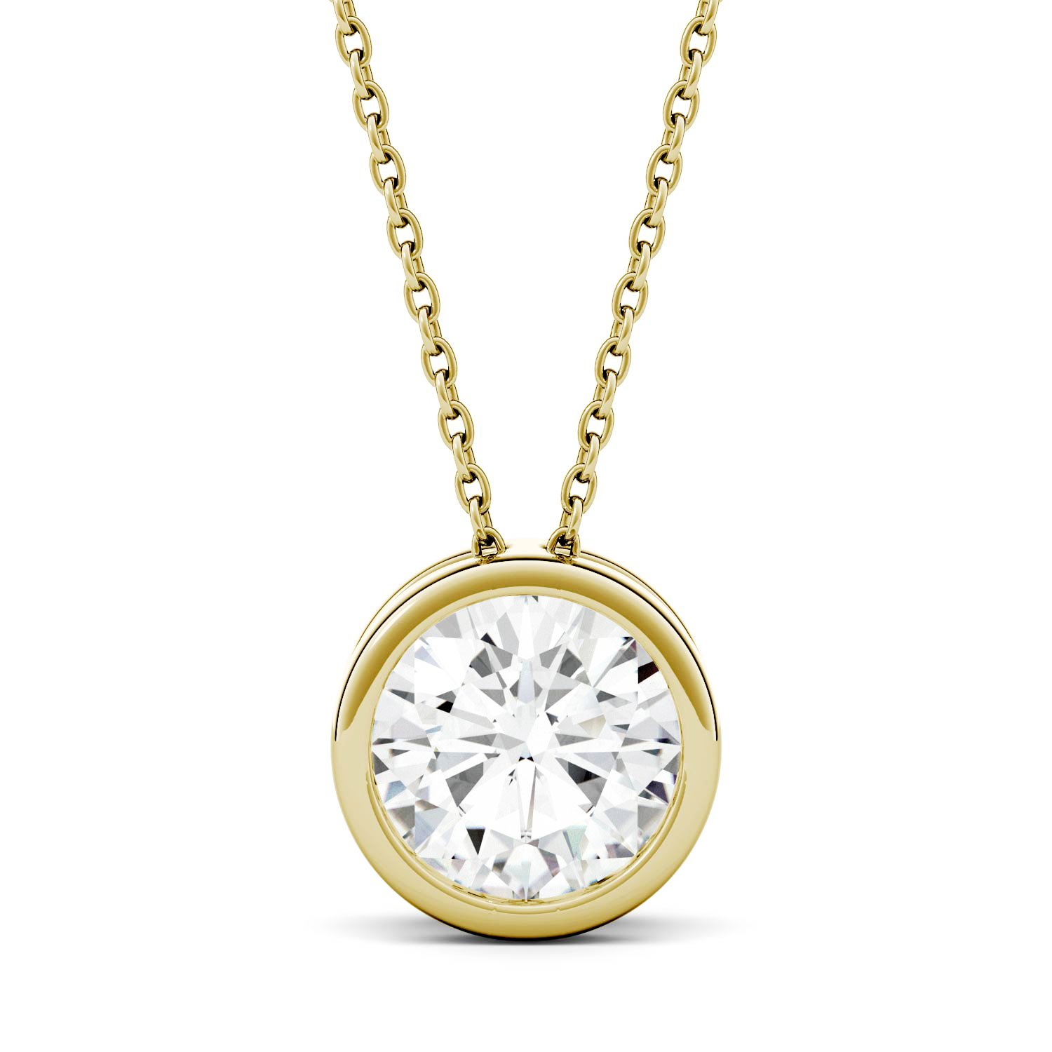 Forever Classic 14K Gold Round 8.0mm Moissanite Pendant Necklace, 1.90ct DEW By Charles & Colvard