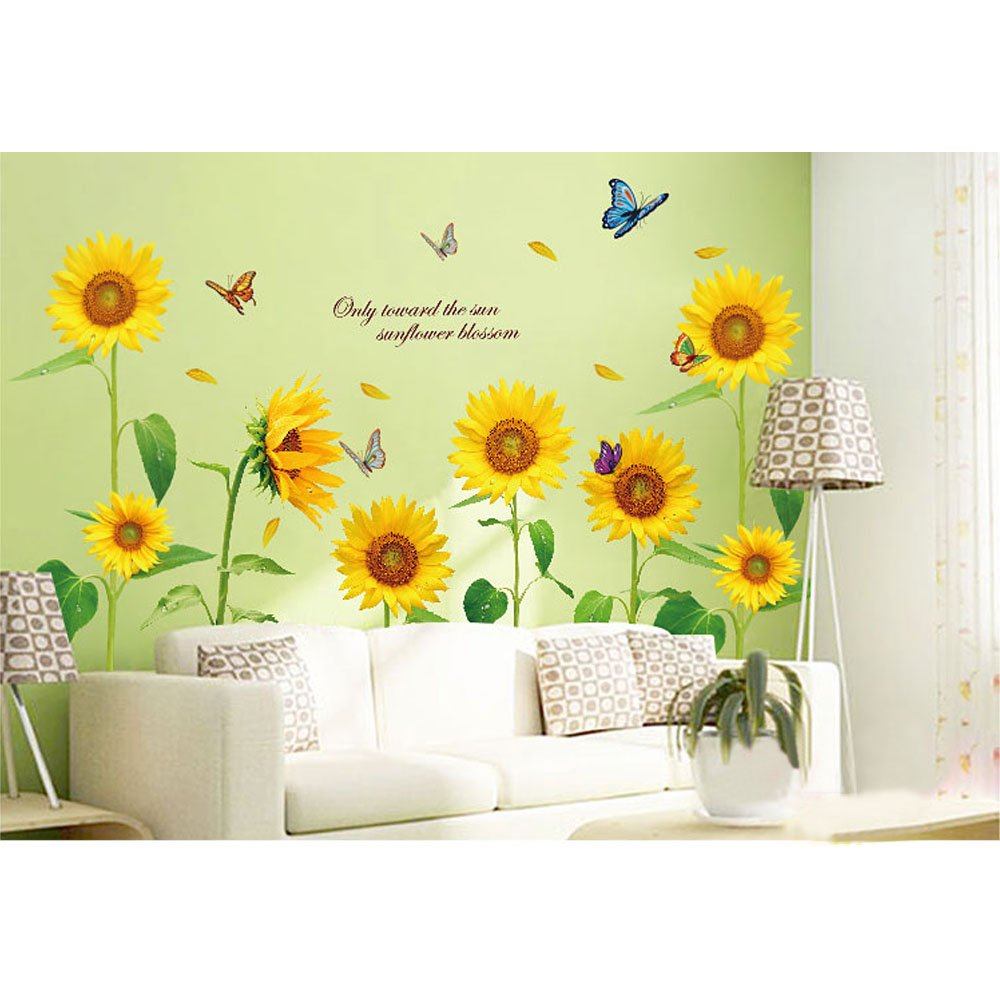 Amazon.com: Wall Sticker 3D Fake Windows Sunflower Sun Paper Home ...