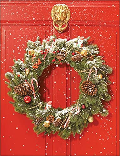 Red Door Wreath Embellished Holiday Notecards Galison Fancy Media