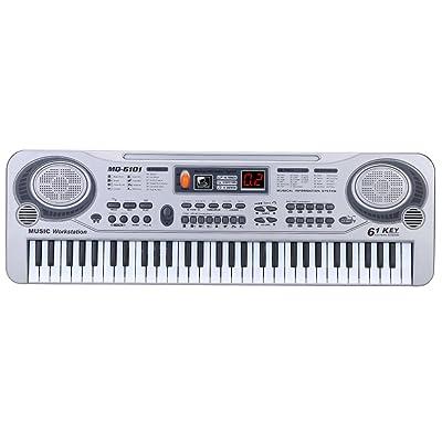 'ammoon 21 Electronic Keyboard 61 Keys eléctrica el juguete de música con el micrófono D istruzione Electone Regalo de Navidad para niños: Instrumentos musicales