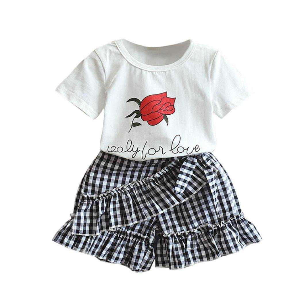 Moonker Toddler Baby Girls Summer Outfits Clothes Rose Print Short Sleeve T-Shirt Tops + Plaid Shorts Pants Set for 2-7 Years Old (6-7 Years Old, White)
