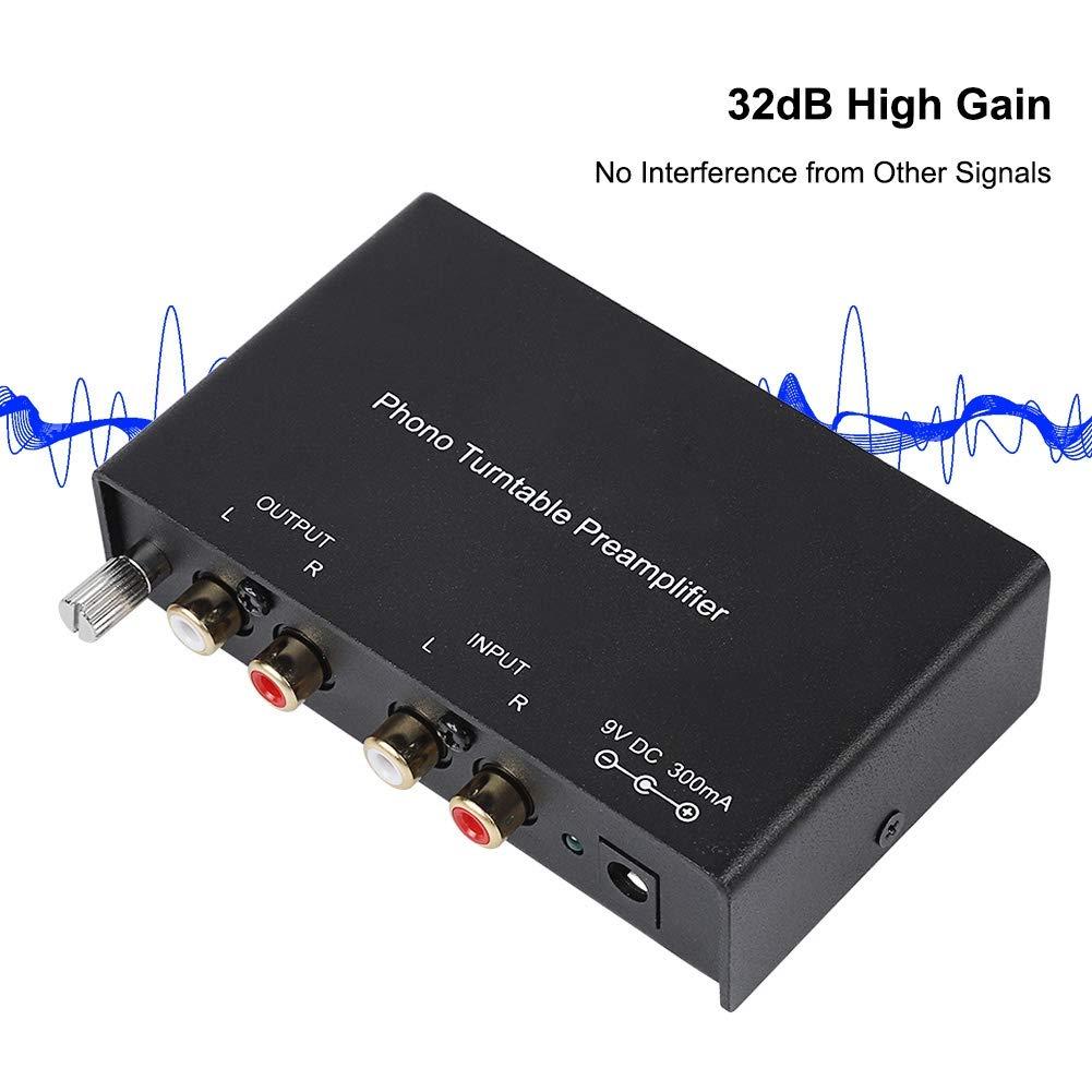 Preamplificatore Phono Stereo a Doppio Canale EU Preamplificatore per Giradischi Riduzione del Rumore Preamplificatore Stereo Hi-Fi Presa EU ASHATA Preamplificatore Phono