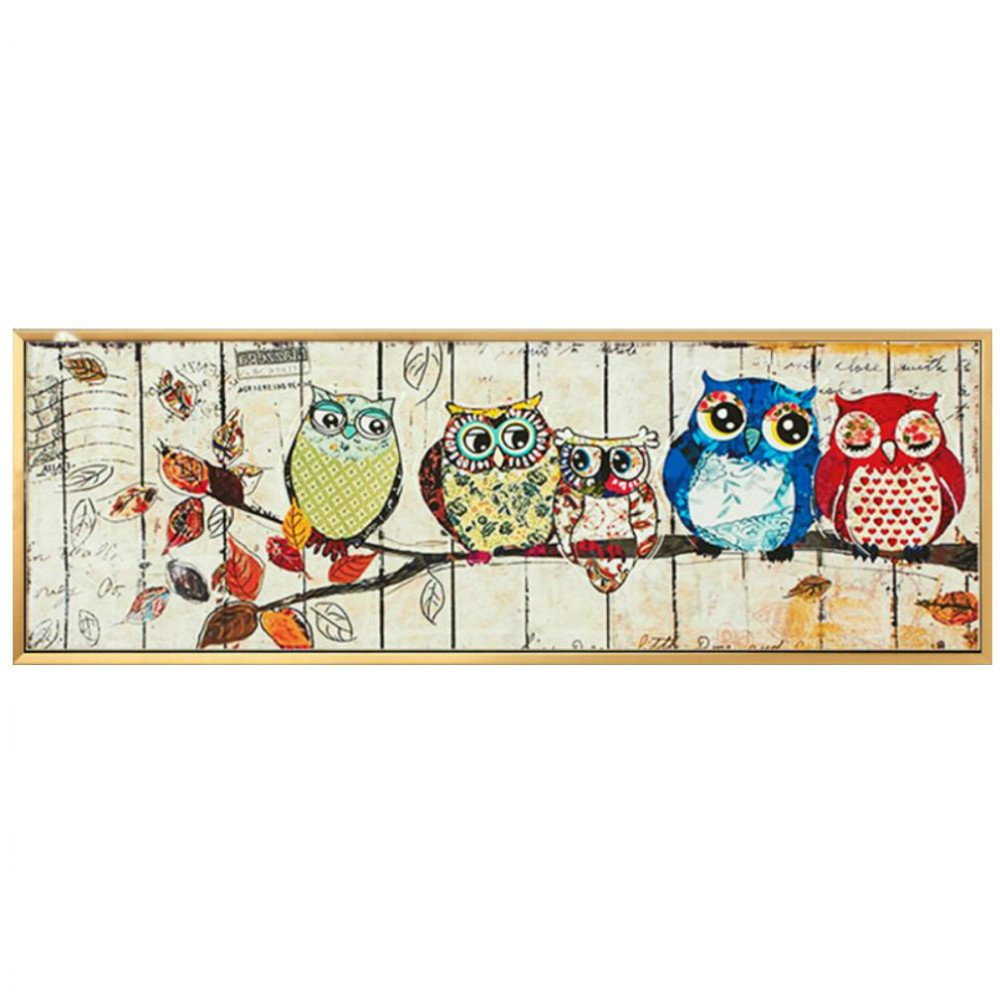 Miss 2 Full Drill DIY 5D Diamond Painting Kits for Adult - Five Owl Birds (Family) - Arts Crafts Home Decor (43.3'' x 15.7'')