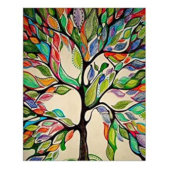 Custom Beautiful Modern Art Abstract Painting Colorful Tree Of Life Canvas  Print 16 Part 45
