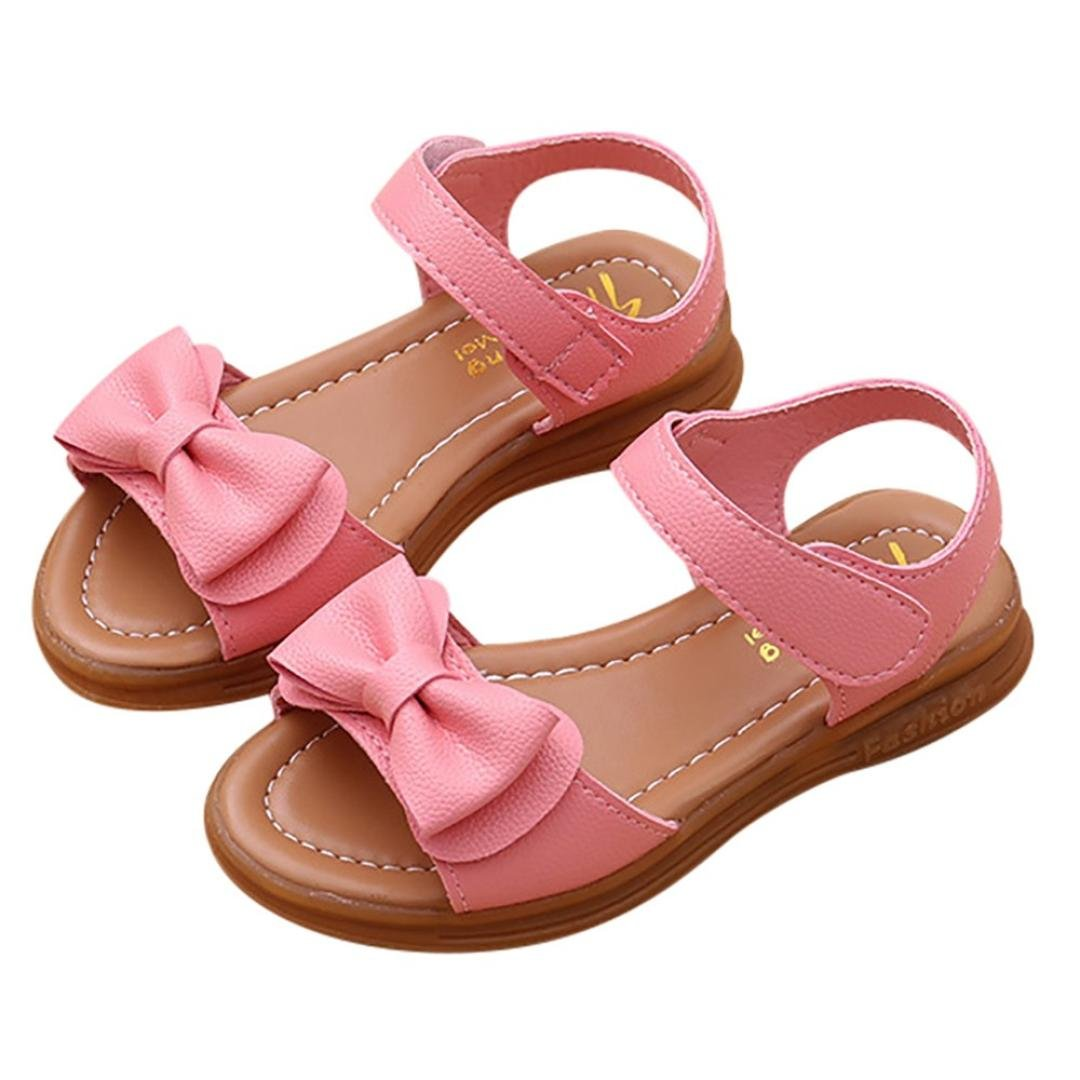 bb06afde04108 Axinke Toddlers Little Girls Summer Open Toe Non-Slip Flat Princess Sandals  with Bowknot