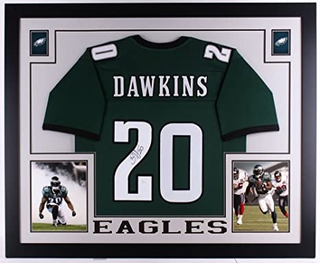 """8f59eeb7129 Image Unavailable. Image not available for. Color: Brian Dawkins Signed  Eagles 35"""" x 43"""" Custom Framed Jersey (JSA ..."""