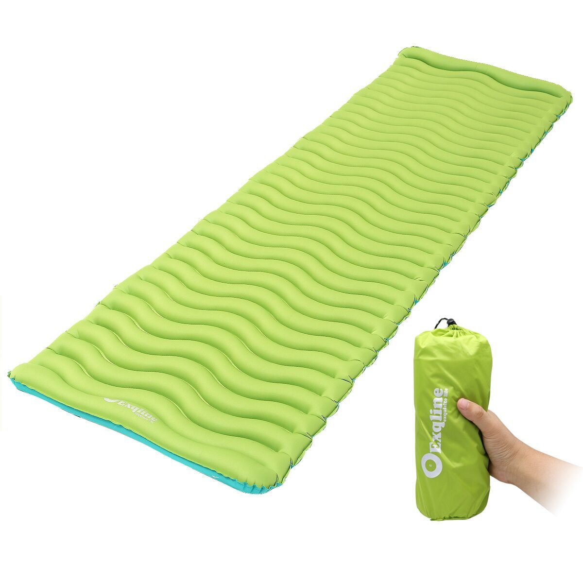 Exqline Sleeping Pad, Ultralight Inflatable Sleeping Pad Ultra-Compact Sleeping Mat for Backpacking Camping Hiking Traveling