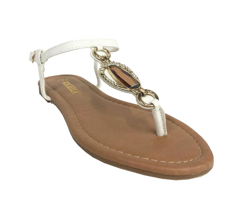 RCK Bella Womens Atina-2 T Strap Front Gold Metallic Jade Decoration Flat Sandal