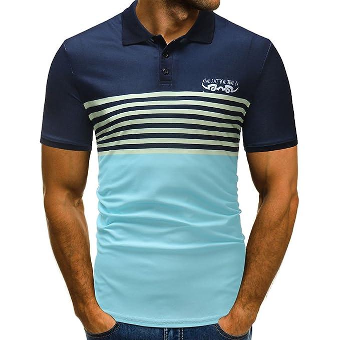 Camiseta para Hombre, Verano Polo Patchwork Camiseta Deporte Manga ...
