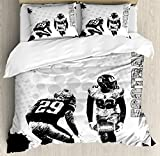Sports Duvet Cover Set by Ambesonne, Grungy American Football Image International Team World Cup Kick Play Speed Victory, 3 Piece Bedding Set with Pillow Shams, King Size, Black White