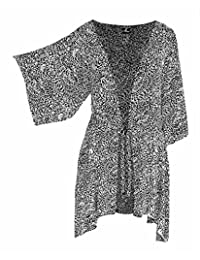 PLUS SIZE Tunic Cardigan, KIMONO Sleeve Jacket with Attached Front Tie O/S: 2X/3X