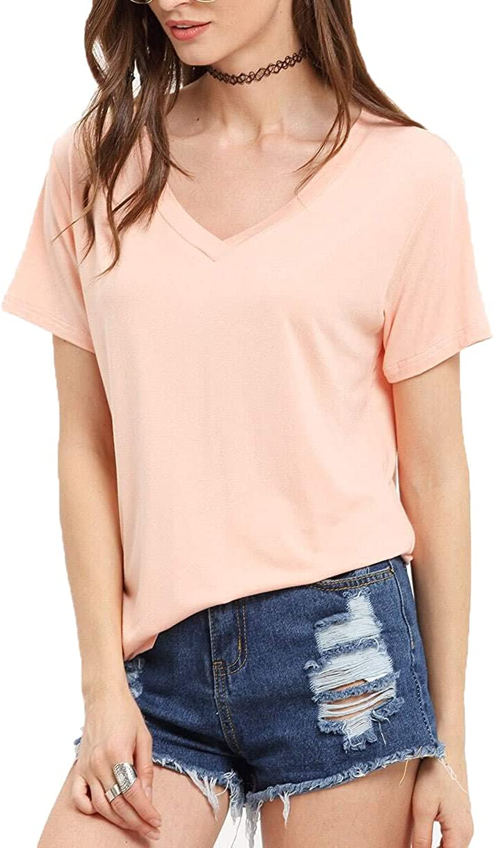 Floerns Women's Solid V Neck Short Sleeve Casual Tee Shirt Top