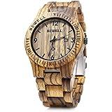 BEWELL 木製腕時計 ウッドウォッチ 腕時計 クオーツウォッチ メンズ 日本石英 アナログ表示 日付 軽量防水 夜光 ビジネス/プレゼント
