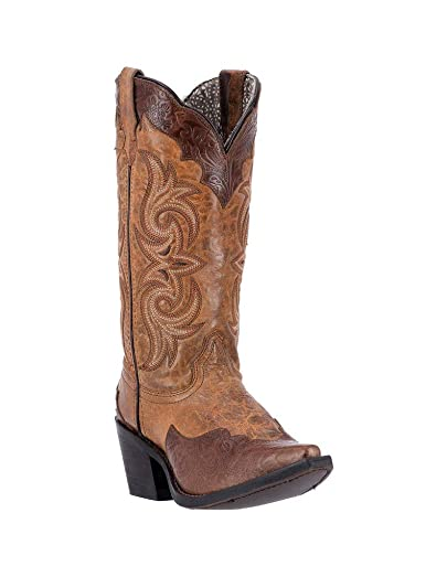 Womens Brown Ginger Leather Cowboy Boots 12in Tooled