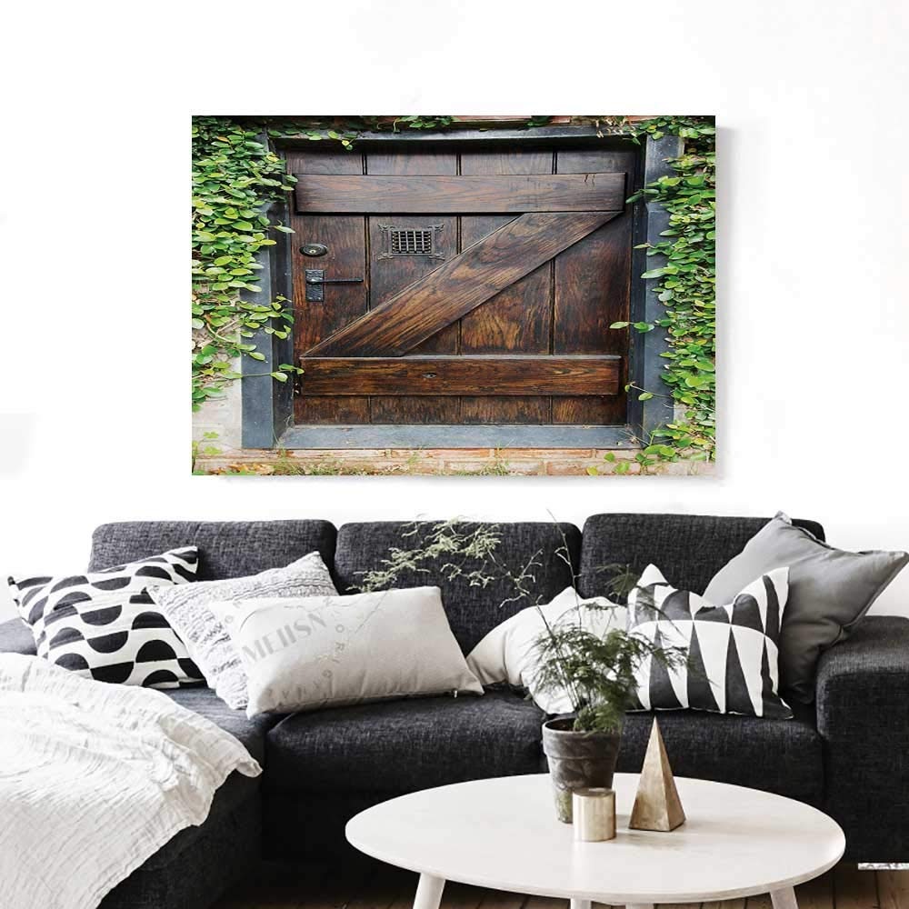 """Rustic Art-Canvas Prints Small Spanish Style Dark Stained Wood Door Secret Garden with Grated Window Picture Modern Wall Art for Living Room Decoration 32""""x24"""" Brown Green"""