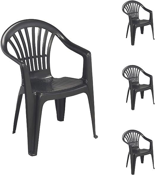 Come Pulire Le Sedie Di Plastica Da Giardino.Mojawo Set Di 4 Sedie Impilabili Da Giardino Altea In Plastica