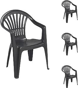 Mojawo – Juego de 4 sillas apilables de jardín Altea Bistrostuhl Gartensessel Balkonstuhl plástico stapelbar Balkonmöbel Gartenmöbel antracita: Amazon.es: Hogar