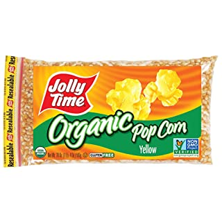 Jolly Time Organic Yellow Popcorn Kernels Non-GMO and Gluten Free, 20 Ounce Bags (Pack of 12)