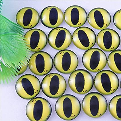 GraceAngie 20pcs Dragon Eyes Round time gem Glass Cabochon Dome Cover Accessory for Cameo Cover Setting 15mm