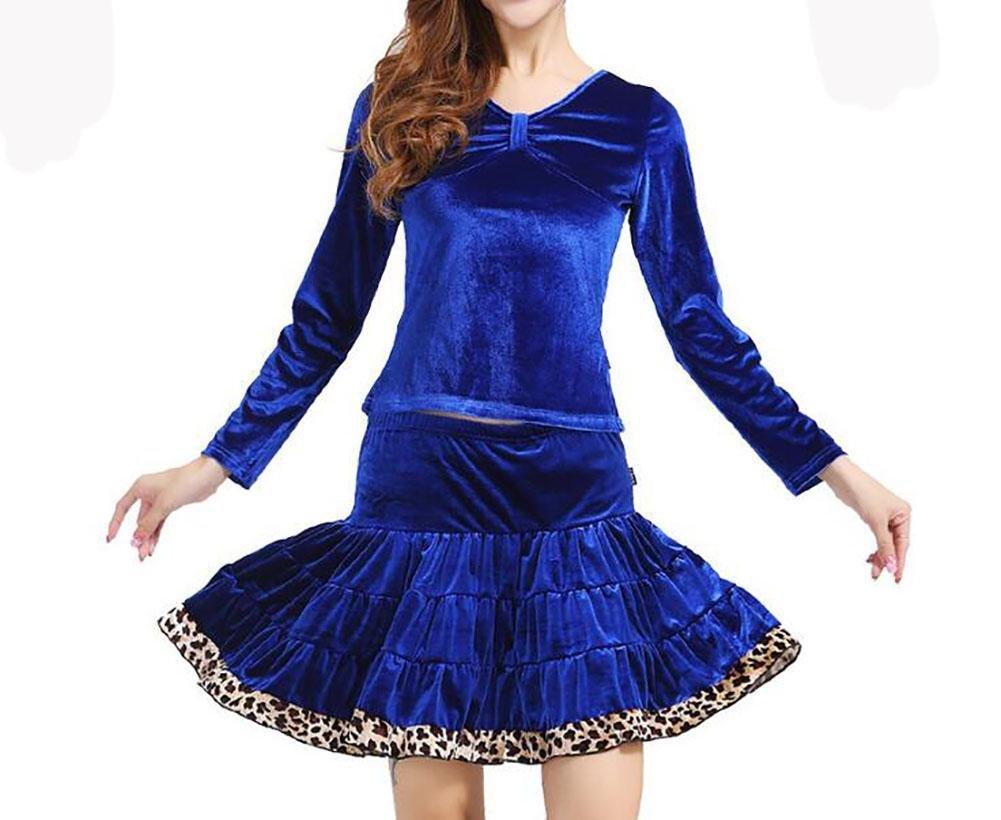 XQX Women's Dance clothes Autumn And Winter Square dance clothing Set Gold velvet Dancing skirt