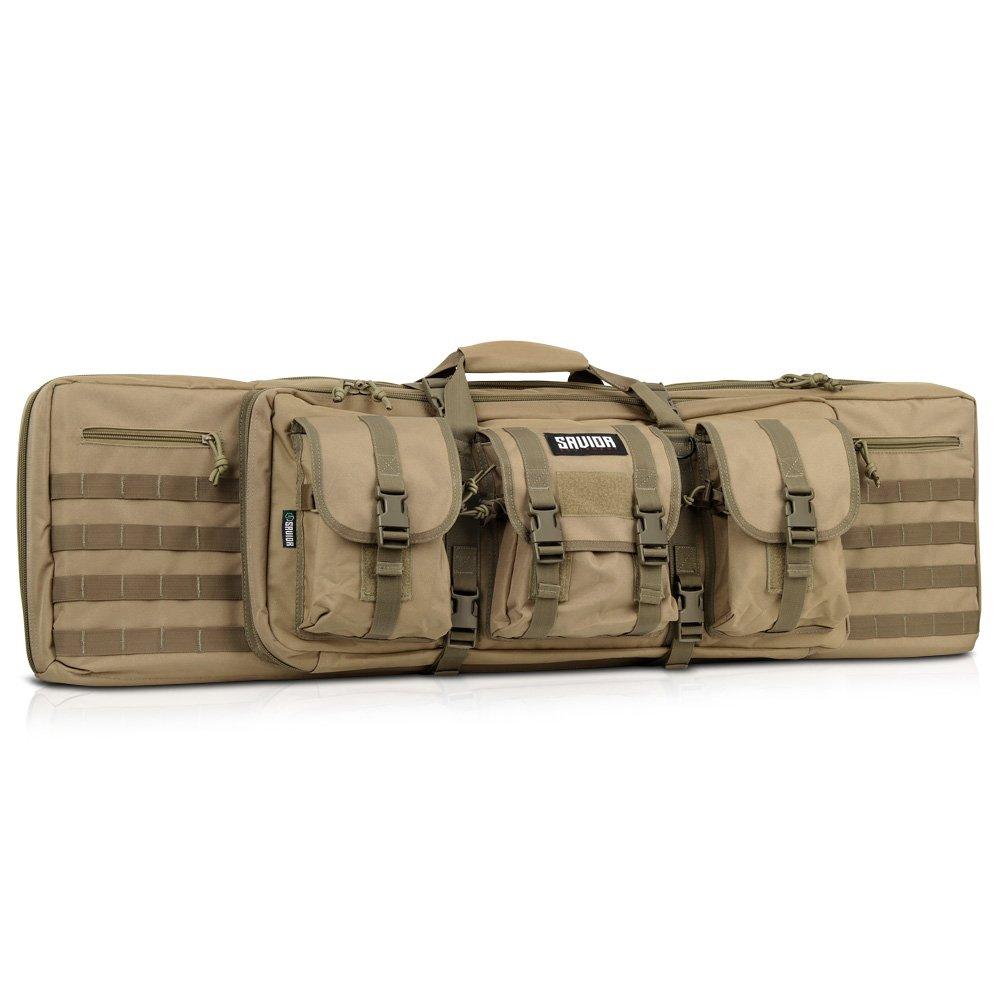 Savior Equipment American Classic Tactical Double Long Rifle Pistol Gun Bag Firearm Transportation Case w/Backpack - 42 Inch Flat Dark Earth Tan