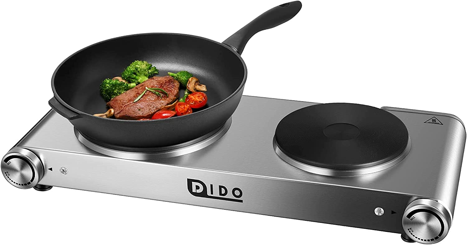 DIDO 1800W Hot Plate, Portable Electric Stove Countertop Cast-Iron Double Burner with Adjustable Temperature& Anti-Slip Feet, Stainless Steel Cooktop for Home/Camp/RV, Compatible for All Cookwares