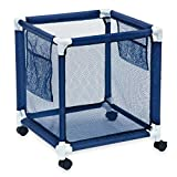 Pool Storage Bin - Standard Pool Accessories Organizer with Nylon Mesh Basket for Swimming Pool Decks, Patio and on the Beach | Holds Beach Towels, Balls, Linens and floatation Devices