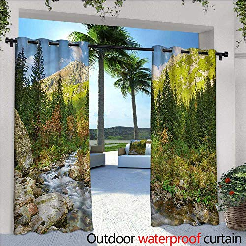 warmfamily Outdoor Outdoor Blackout Curtains Roztoka Stream Tatra Park Outdoor Privacy Porch Curtains W84 x L108 ()