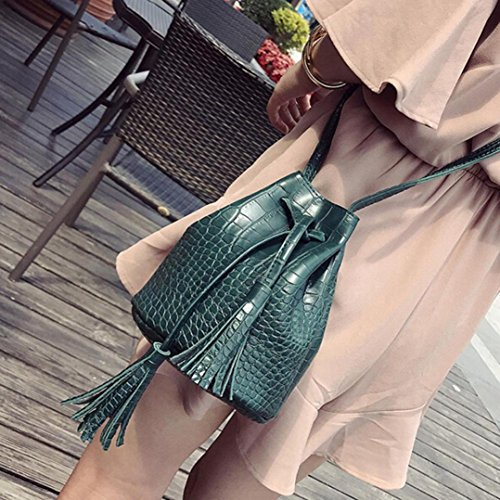 Leather Bag Shoulder Crossbody Bucket Green Bag Girls' Leewa Tassel Women qtwOFBF