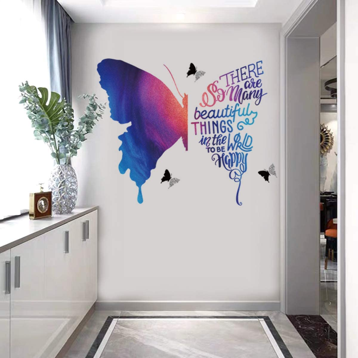 Multi-Color Big Butterfly Wall Stickers for Living Room Girls Bedroom Nursery Wall Decor Inspirational Quotes to Be Happy DIY Wall Decals.
