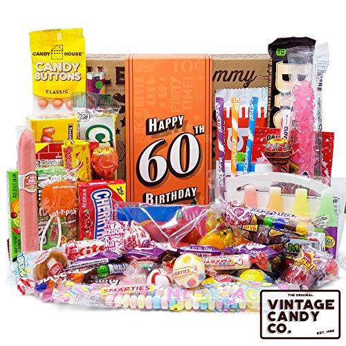 VINTAGE CANDY CO. 60TH BIRTHDAY RETRO CANDY GIFT BOX - 1959 Decade Nostalgic Candies - Fun Gag Gift Basket For Milestone SIXTIETH Birthday - PERFECT For Man Or Woman Turning 60 Years Old