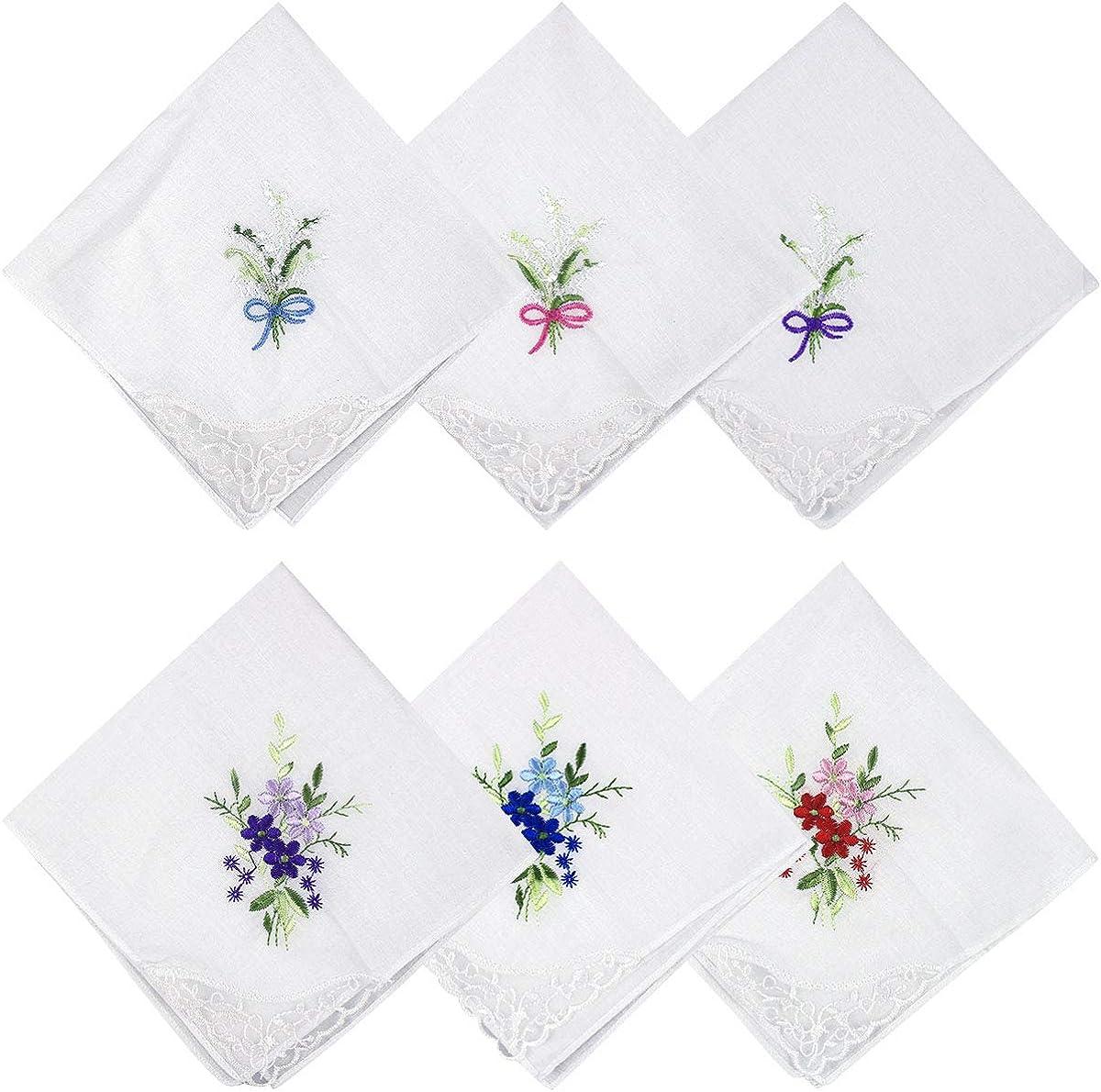 NATUCE 100/% Baumwolle Damen Taschentuch Pack von 6 Vintage Blumen Stickereien Stofftaschent/ücher mit Spitze,Einsteckt/ücher Stoff Taschent/ücher Wei/ß Hochzeitf/ür f/ür Damen