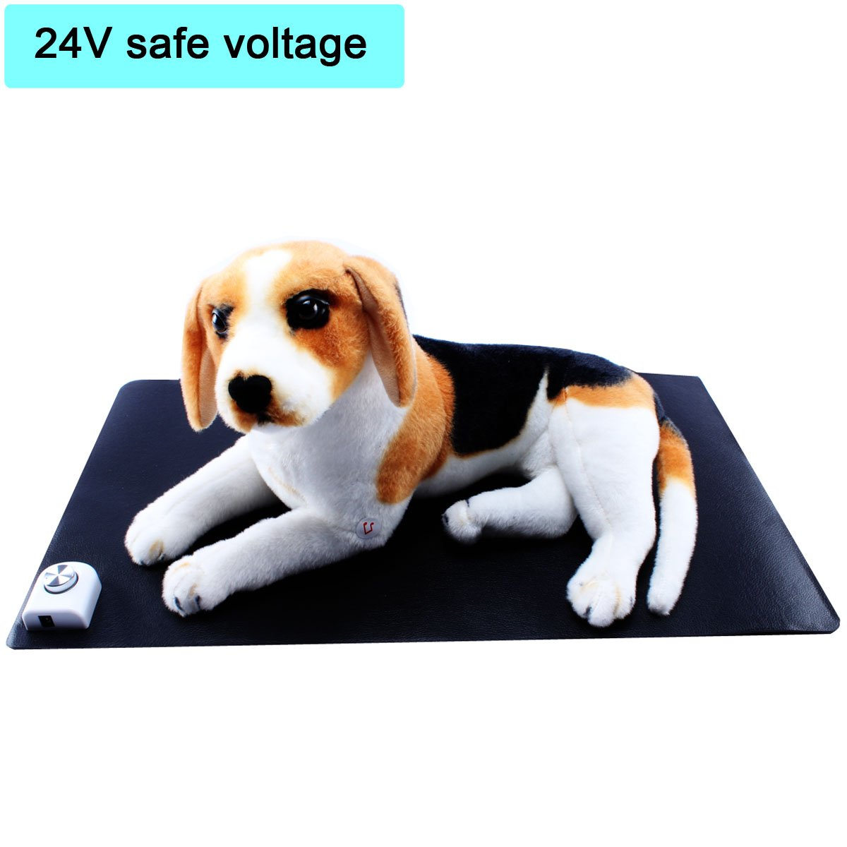 Black YADICO Pet Puppy Heating Pad, Adjustable Warming Pet Heat Mat for Dogs or Cats 24V Safe Voltage Waterproof Electric Heating Pad (Black)