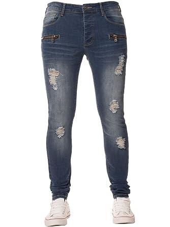 ENZO Mens Super Skinny Stretch Slim Fit Ripped Denim Jeans All Waist Sizes  Mid Stonewash 28W 82ec3c9562