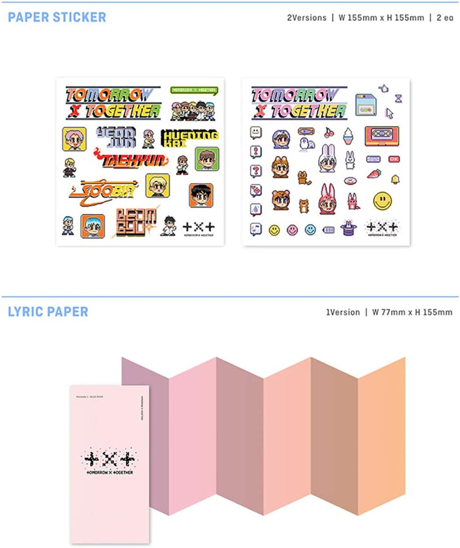 CD+Poster+Photobook+Paper Sticker+Lyric Paper+Behind Book+Photocard+Postcard+ AR Version TXT TOMORROW X TOGETHER Minisode1 : Blue Hour Album Extra 4 Photocards
